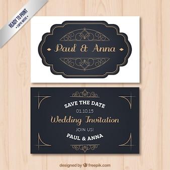 Invitación retro de boda