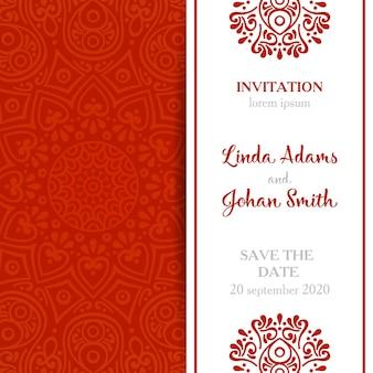 Invitación roja elegante de boda de mandala