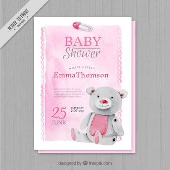 Invitación rosa de acuarela para una baby shower