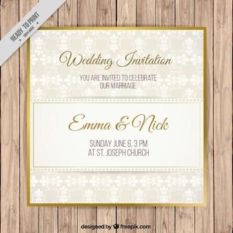 Invitación sencilla de boda con detalle dorado