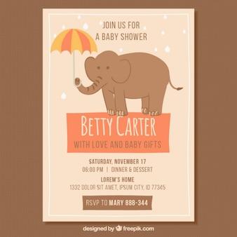 Invitación vintage a baby shower con elefante