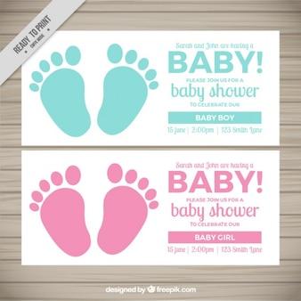 Invitaciones bonitas de bienvenida de bebé con huellas