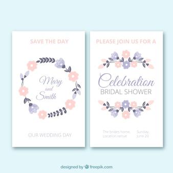 Invitaciones de despedida de soltera florales en colores pastel
