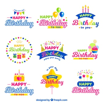 Isignias coloridas de cumpleaños