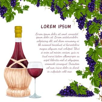 Jarro de vino y fondo de racimo de uva