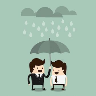 Jefe compartiendo un paraguas con un empleado