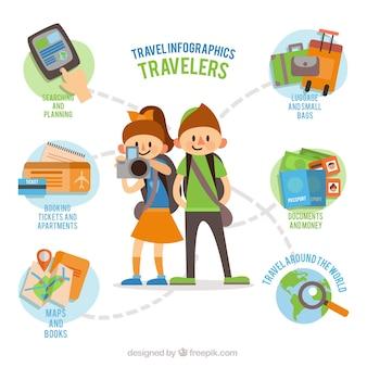 joven pareja de viajeros con elementos infográficos