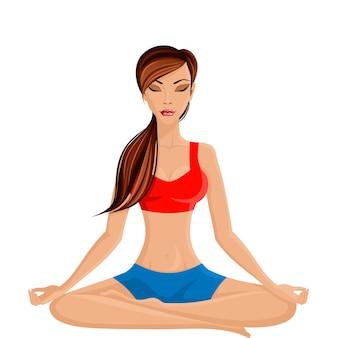 Joven sexy mujer delgada practicar yoga en la mitad de loto sentado ilustración vectorial pose
