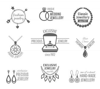 Joyería negro conjunto de etiquetas de joyería única clásica vintage aislado ilustración vectorial