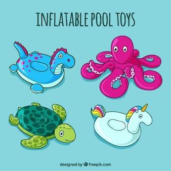 Jueguetes inflables de piscina de criaturas dibujadas a mano