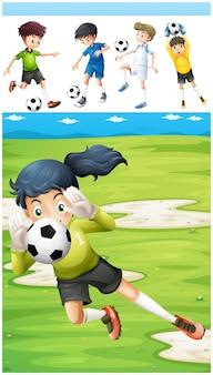 Jugadores de fútbol en el campo de ilustración