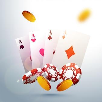 Jugar a las cartas con fichas de póquer y monedas de oro para el Casino.