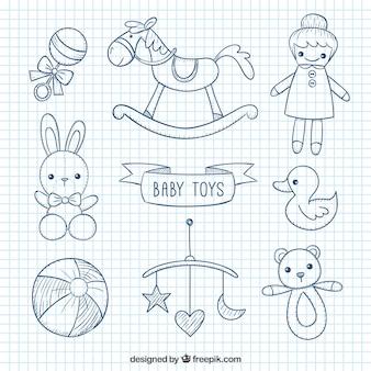 Juguetes de bebé esbozados