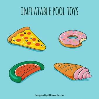 Juguetes de comida inflables de piscina dibujados a mano
