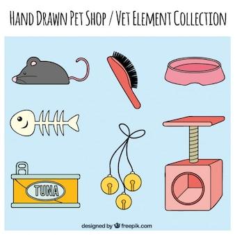 Juguetes y accesorios dibujados a mano para mascotas