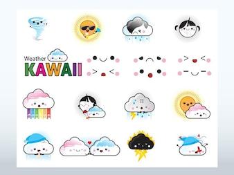 Kawaii caricaturas vectores iconos del clima