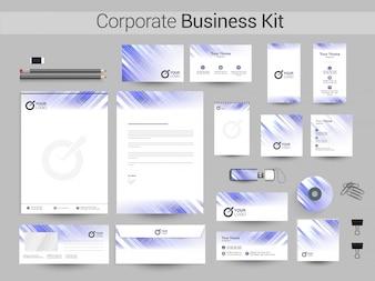 Kit corporativo de negocios en colores púrpura y blanco.