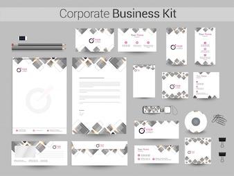 Kit de negocios corporativos con cuadrados grises.