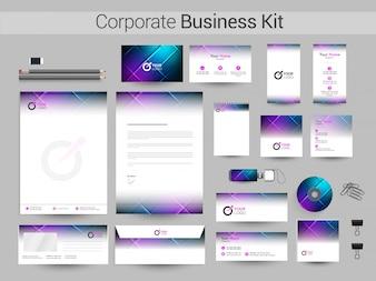 Kit de negocios corporativos con diseño abstracto brillante.