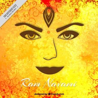 La cara sobre un fondo amarillo de Ram Navami