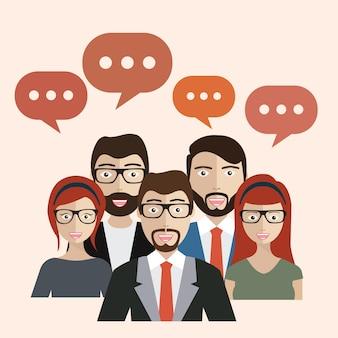 La gente de negocios con las burbujas del discurso