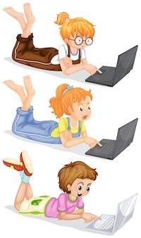 La gente que usa la computadora portátil ilustración