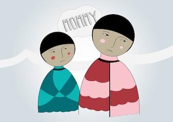 la madre y el niño vector