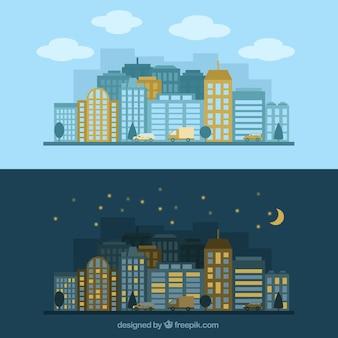 La misma ciudad en diferentes momentos del día