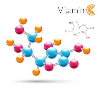 La molécula de la vitamina C