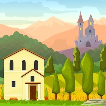La plaza medieval paisaje ilustración de dibujos animados de vectores