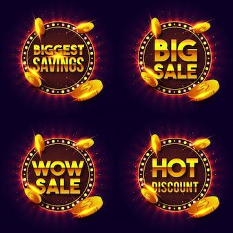 La venta de oro y las letras de descuento en marco de luces retro.