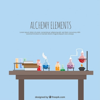 Laboratorio con elementos de alquimia