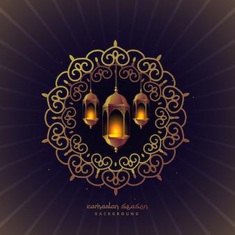 Lámparas del festival ramadan en un marco floral