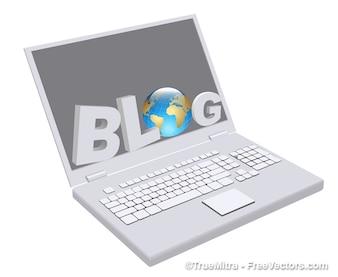 Laptop blogs en todo el mundo vector icono