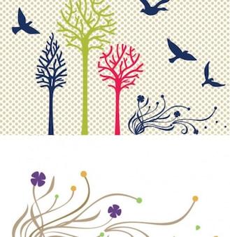 Las aves siluetas de los árboles colorido conjunto de vectores