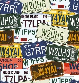 las placas de licencia de la vendimia conjunto de vectores