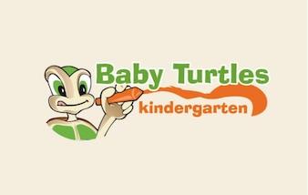 Las tortugas bebé de la historieta de dibujo vectorial