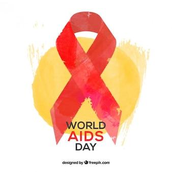Lazo pintado a mano del día mundial contra el sida