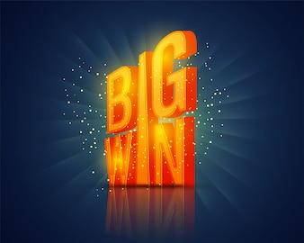 Letra brillante grande del triunfo, fondo creativo del casino.
