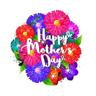 Letra feliz del día de madre con las flores coloridas, fondo floral hermoso para el diseño de tarjeta de felicitación