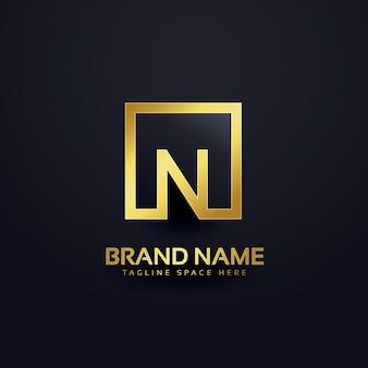 Letra n logotipo de lujo dorado