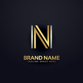 Letra n logotipo de lujo moderno