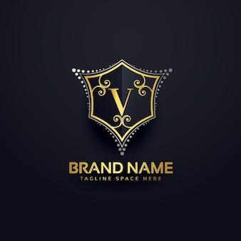 Letra v logotipo de lujo