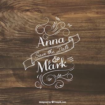 Letras de invitación de boda en la madera