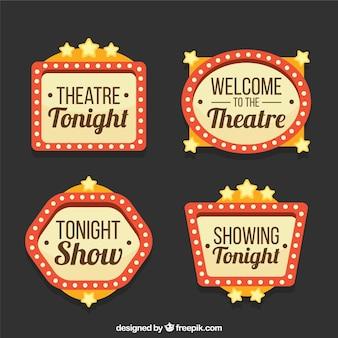 Letreros de teatro fantásticos con estrellas decorativas