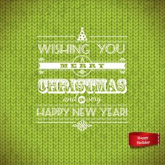 Lettering navideño sobre lana verde