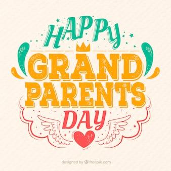 Lettering vintage de feliz día de los abuelos