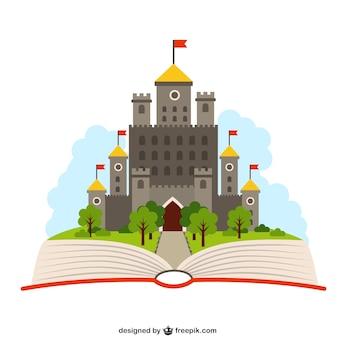 Libro abierto con un castillo