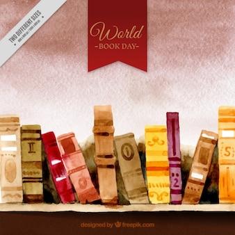 libros de la acuarela en un fondo estantería