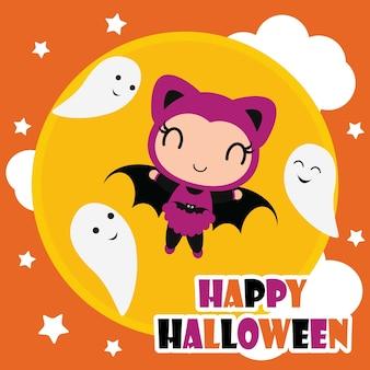 Linda chica de murciélago en el marco de calabaza vector de ilustración de dibujos animados para el diseño de tarjeta de Halloween, papel tapiz y diseño de camiseta de niño